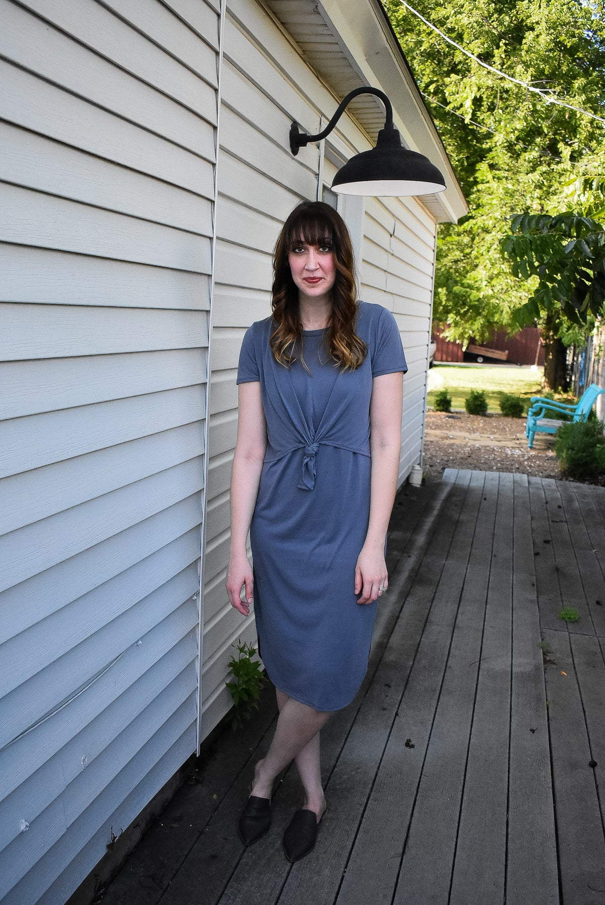 FRONT KNOT DRESS - GREY
