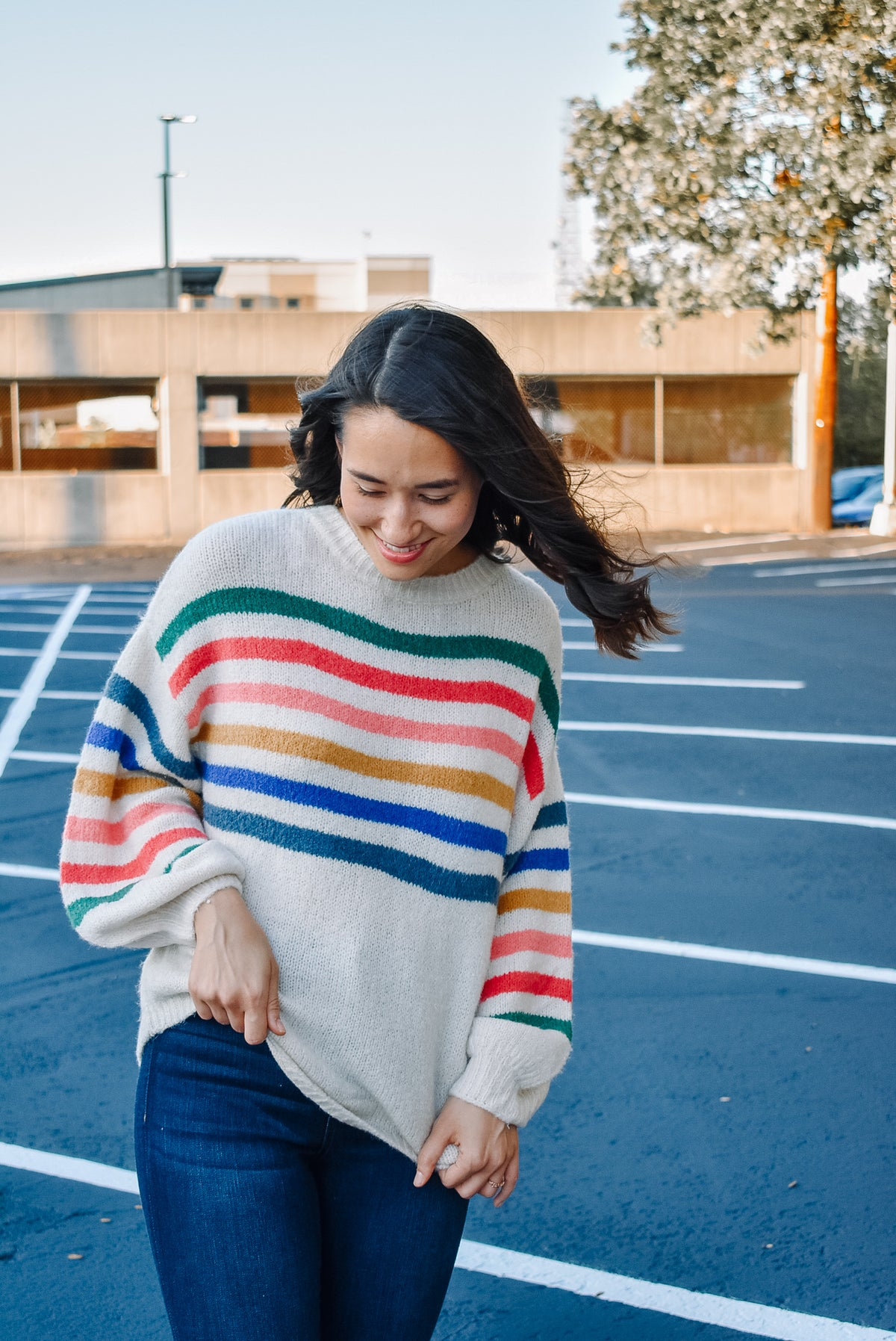 BRIGHT STRIPE SWEATER-IVORY