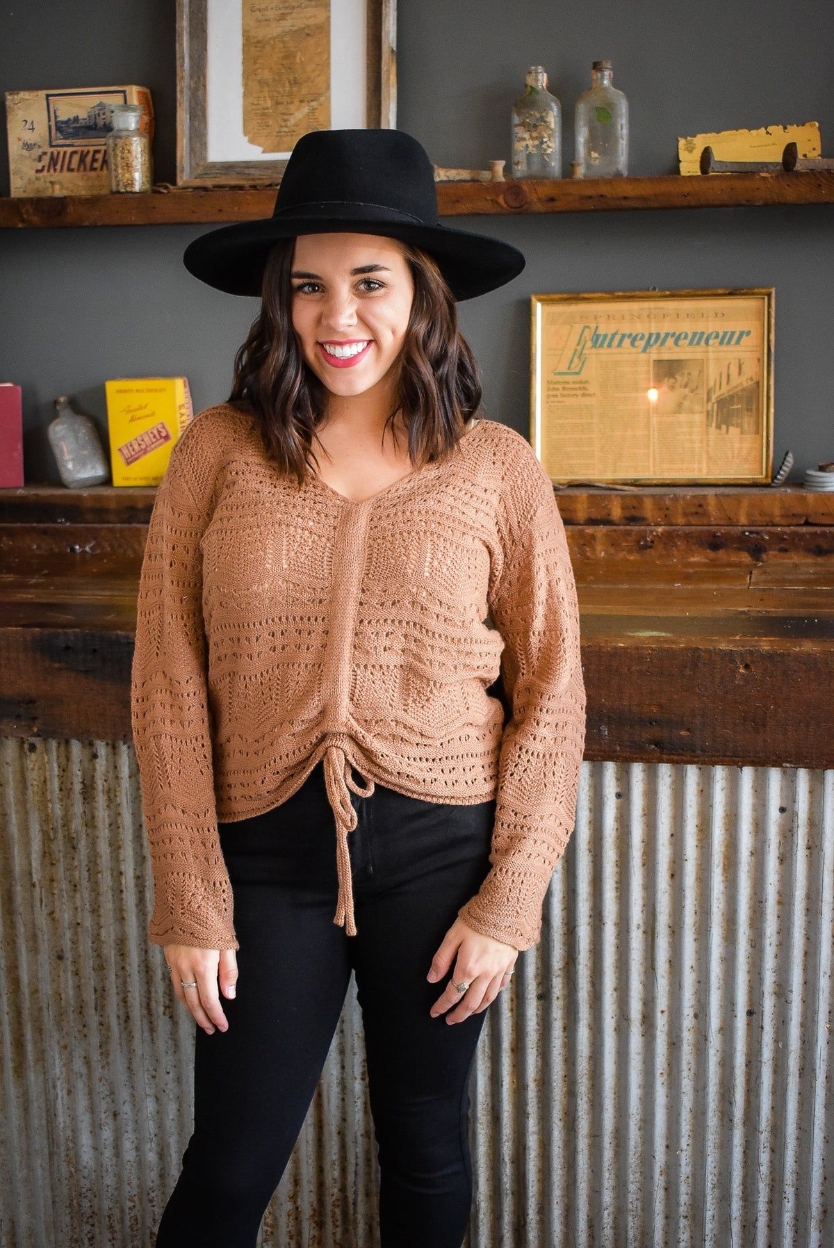 CROCHET TIE SWEATER-CIDER