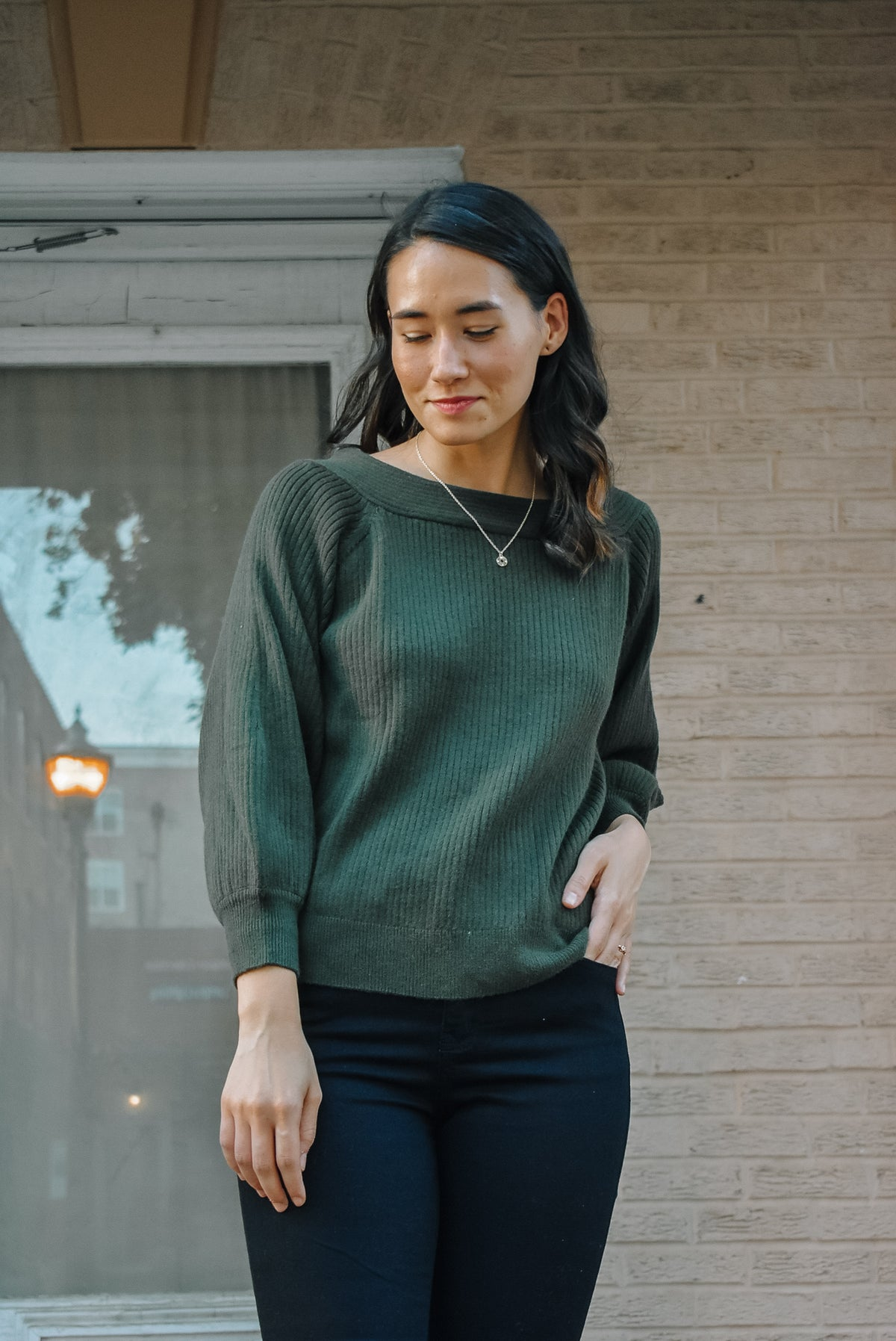 WIDE NECK SWEATER-FOREST GREEN