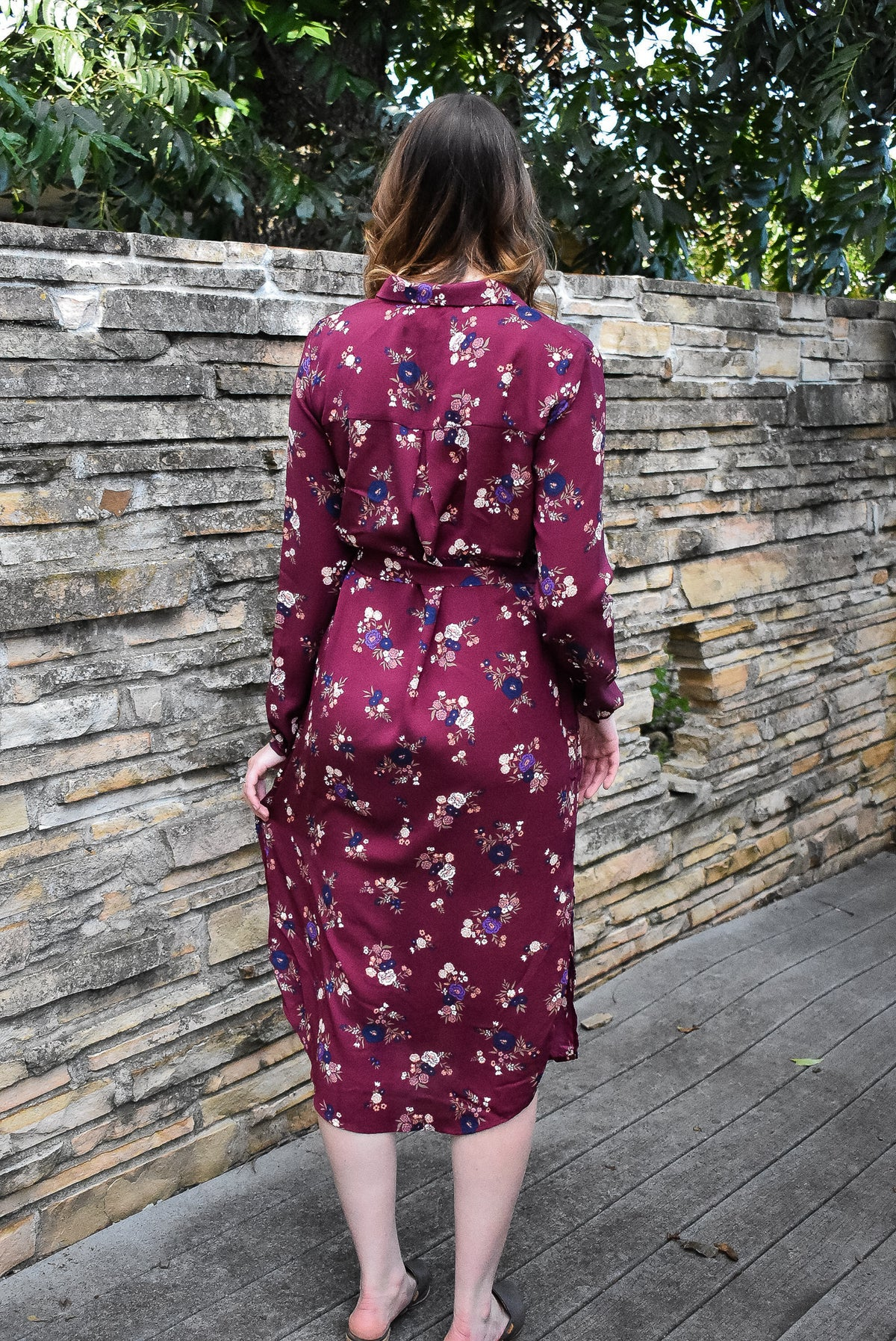 FLORAL BUTTON-UP MIDI DRESS - BURGUNDY