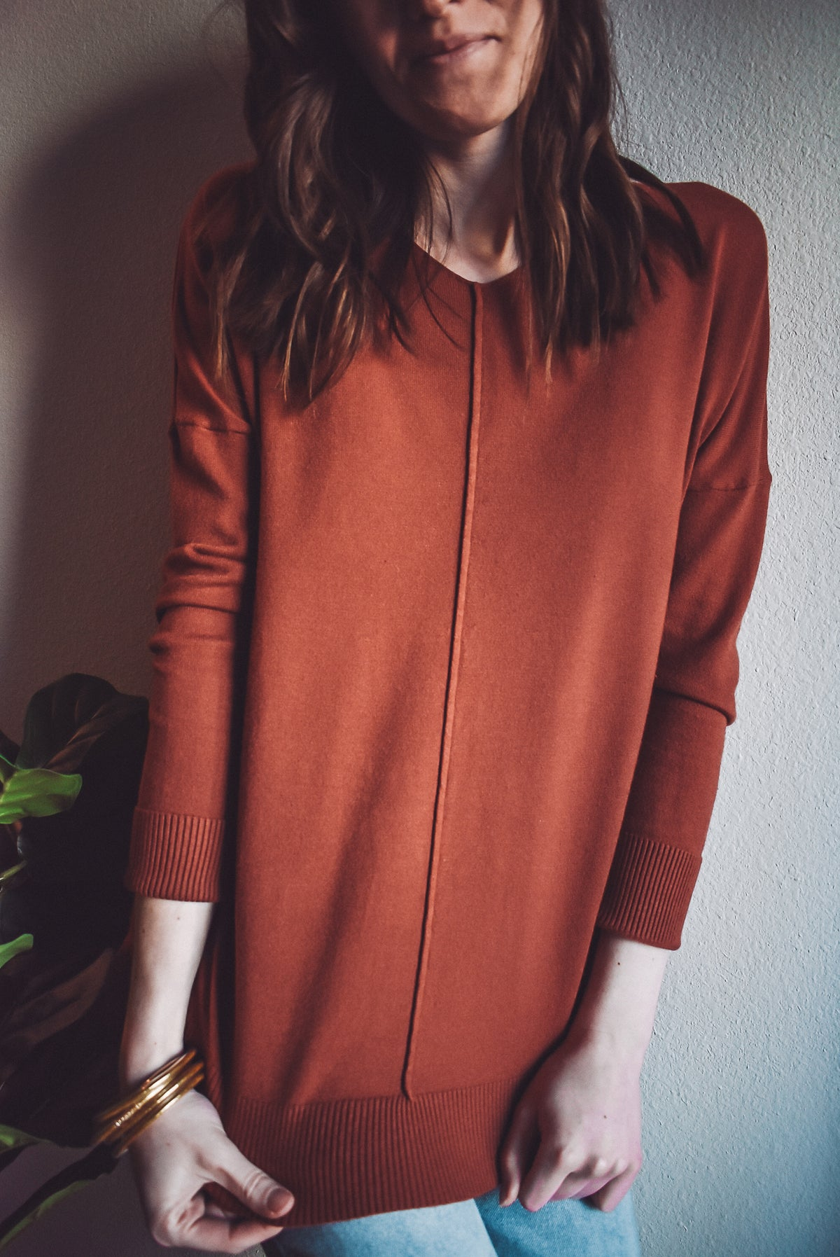 BASIC SWEATER-ORANGE RUST