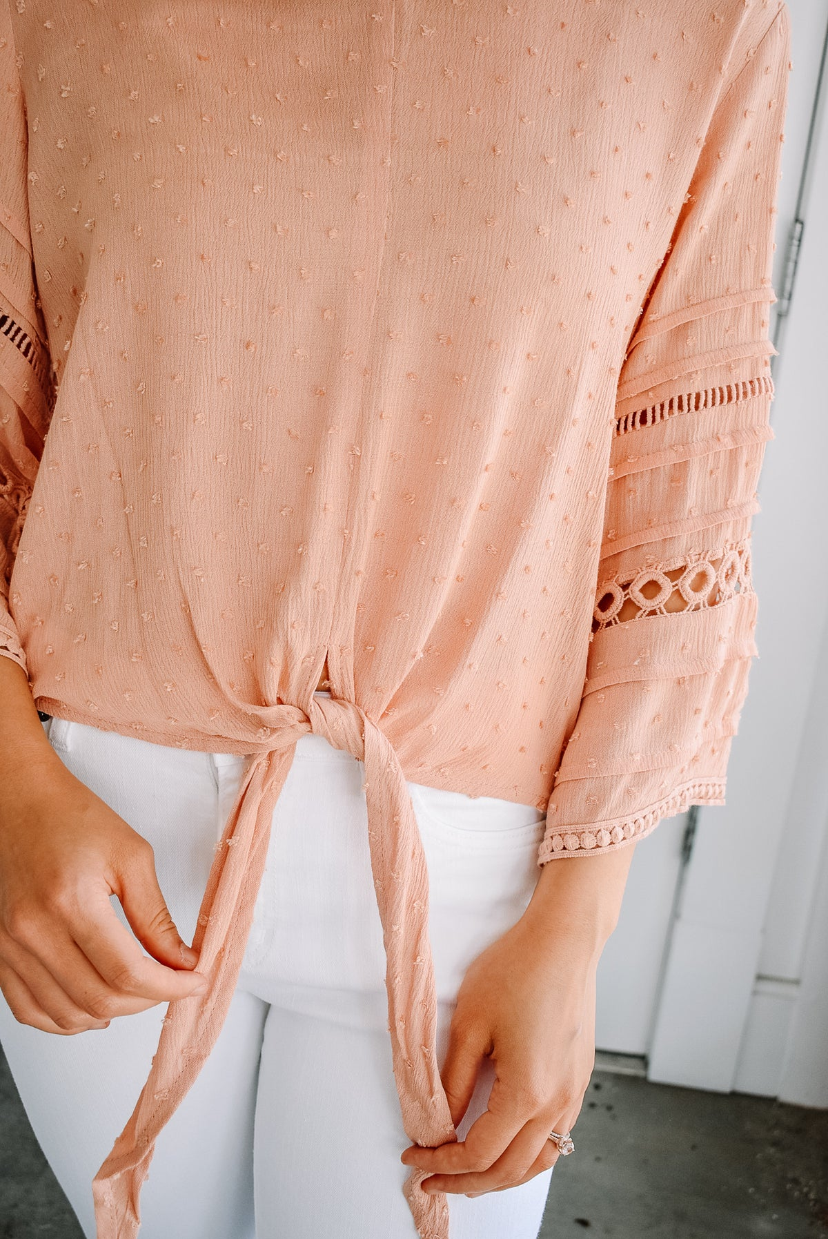 SWISS DOT FRONT TIE BLOUSE-PEACH
