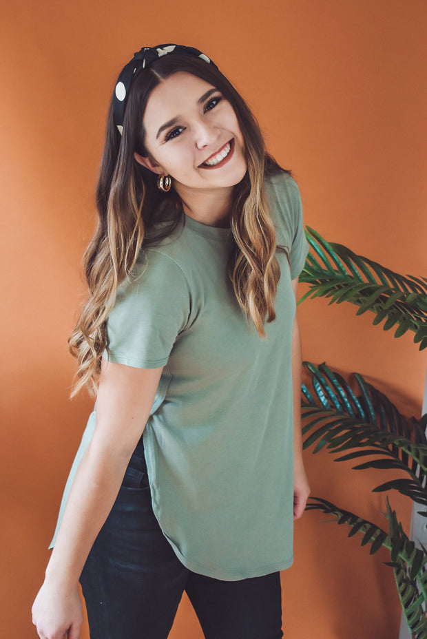 SIDE SPLIT TUNIC TEE-OLIVE