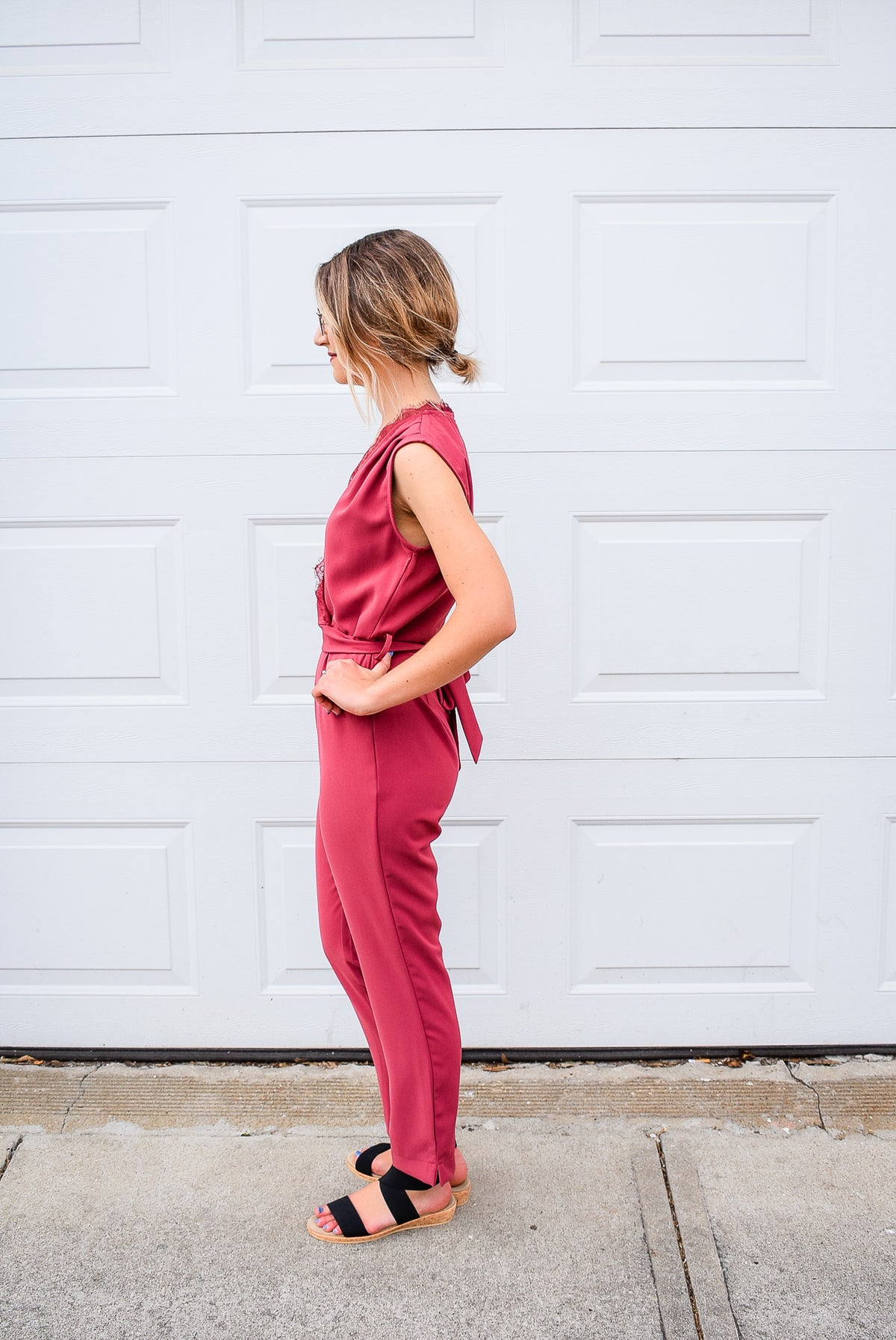 LACE TRIM JUMPSUIT W/ TIE IN ROSE