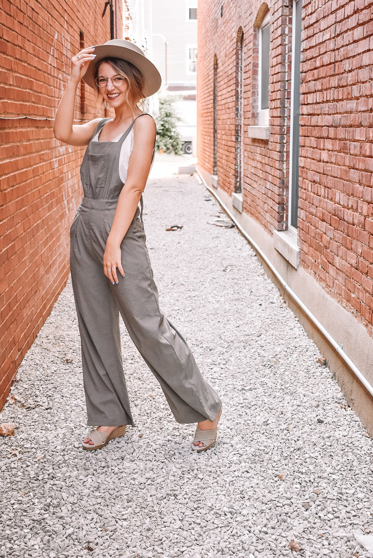 OVERALL SUEDE JUMPSUIT-OLIVE