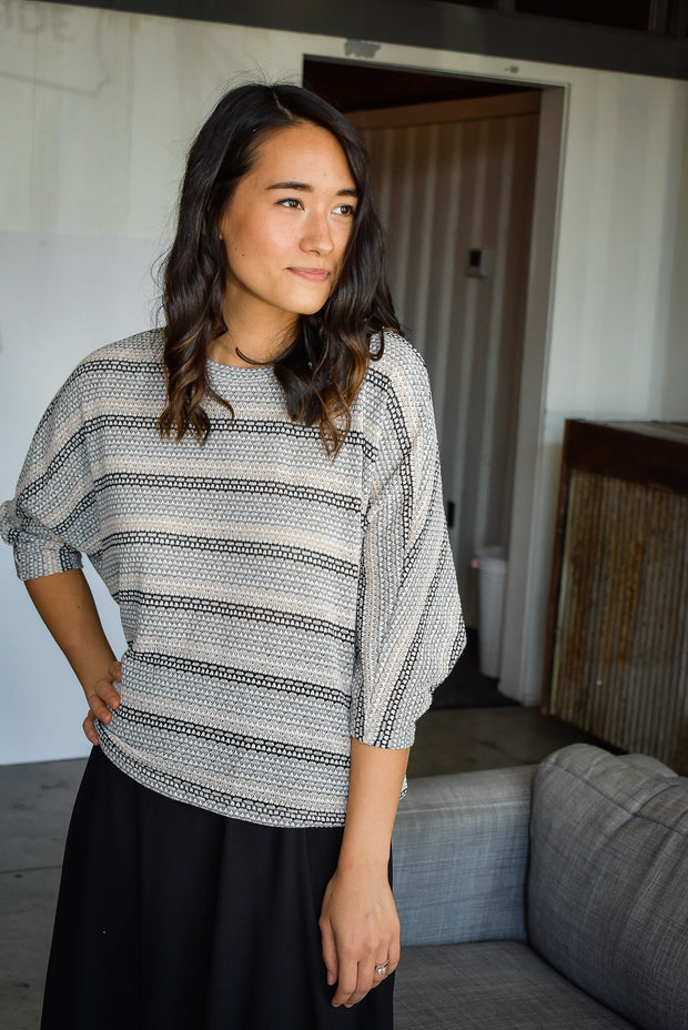 MULTI STRIPE 3/4 SWEATER-NEUTRAL