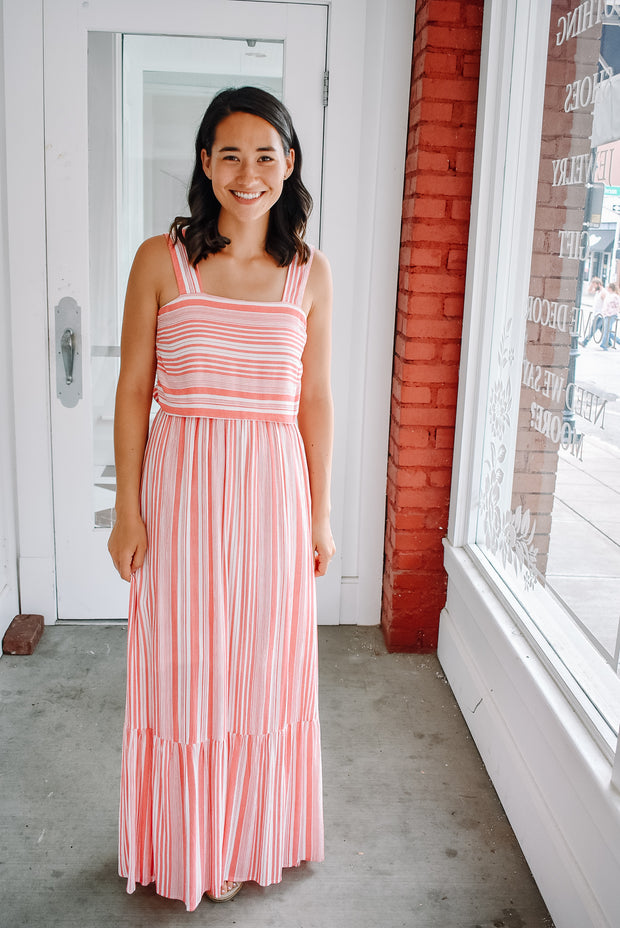 BACK BOW STRIPED MAXI DRESS IN PINK/WHITE