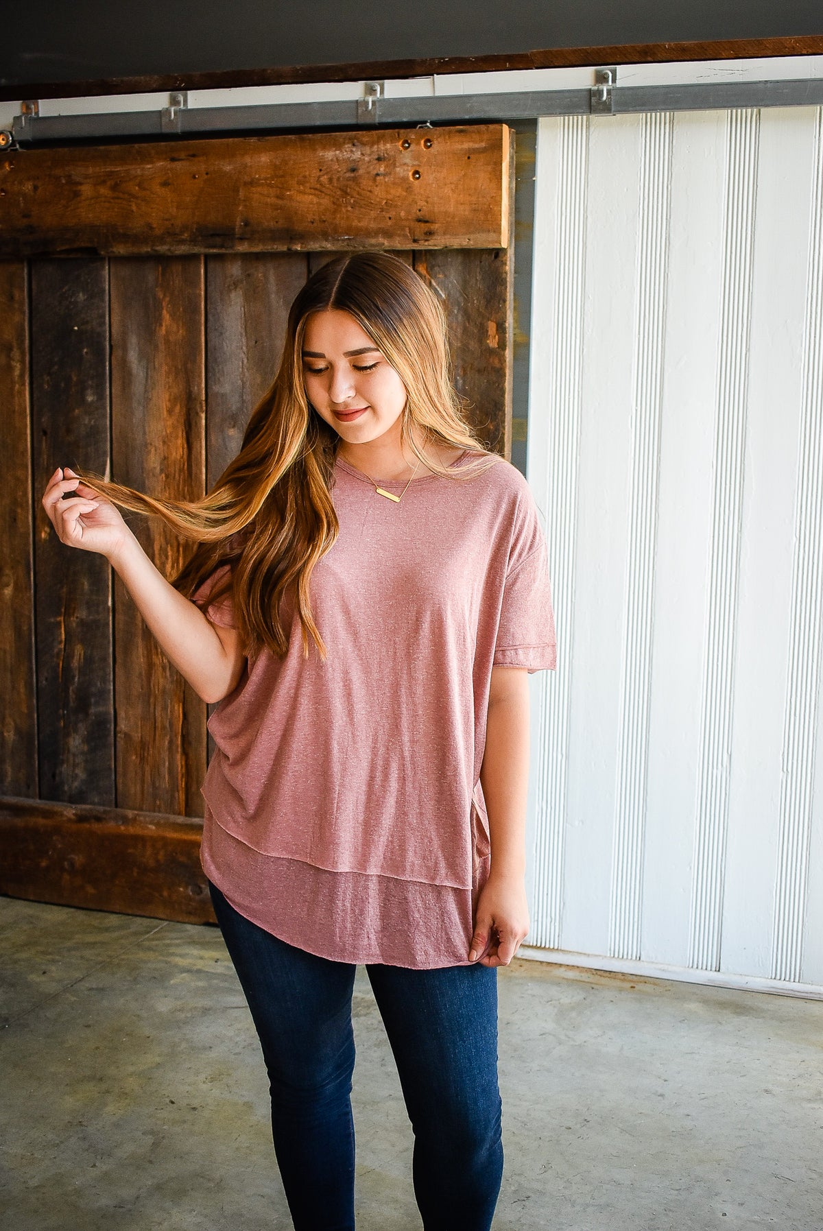 LAYERED TUNIC TEE-MAUVE