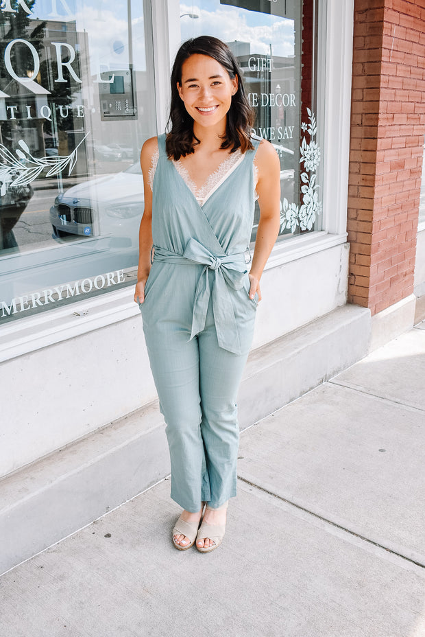 WRAP JUMPSUIT-SAGE