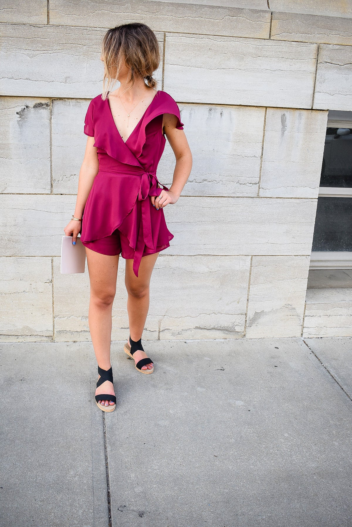 SHOWSTOPPER WRAP ROMPER-PLUM