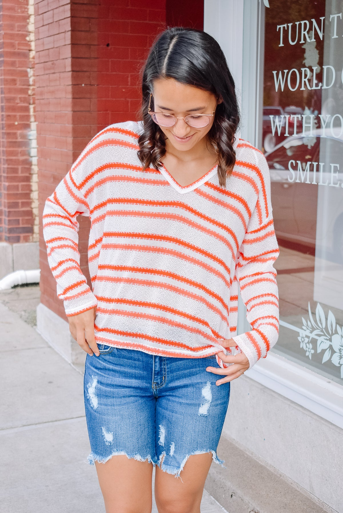 STRIPE SWEATER-ORANGE CORAL