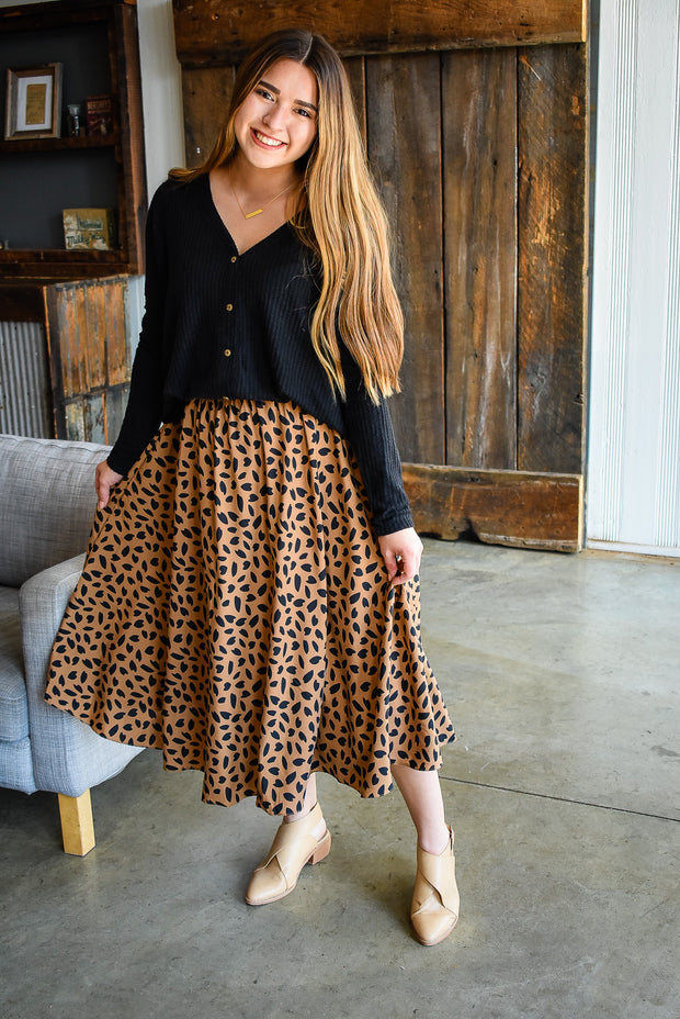 HEART MIDI SKIRT-BROWN