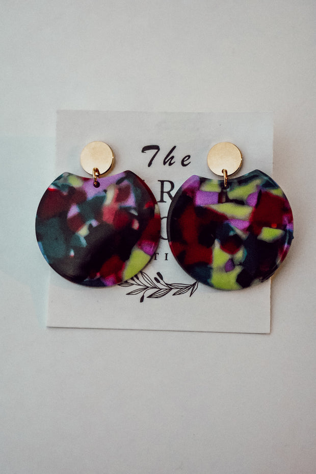 PURPLE MULTI ROUND EARRINGS