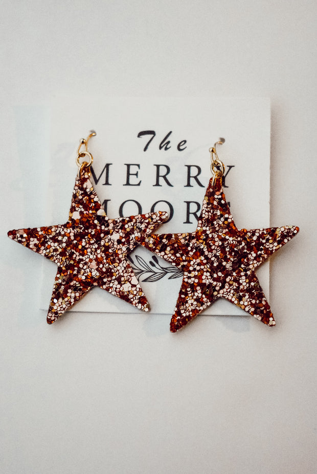 GLITTER STAR EARRINGS - ROSE GOLD