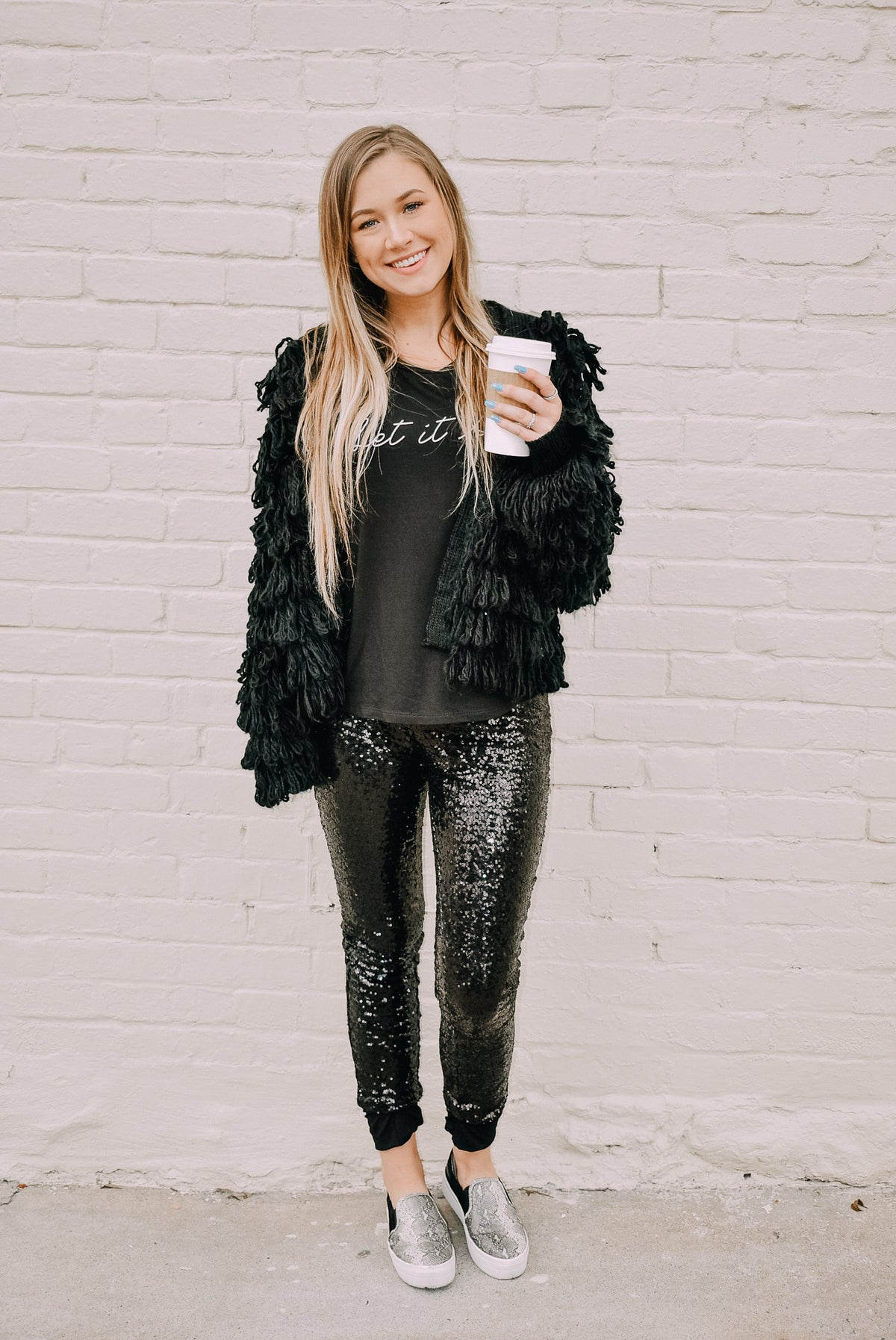 BLACK SEQUIN LEGGINGS