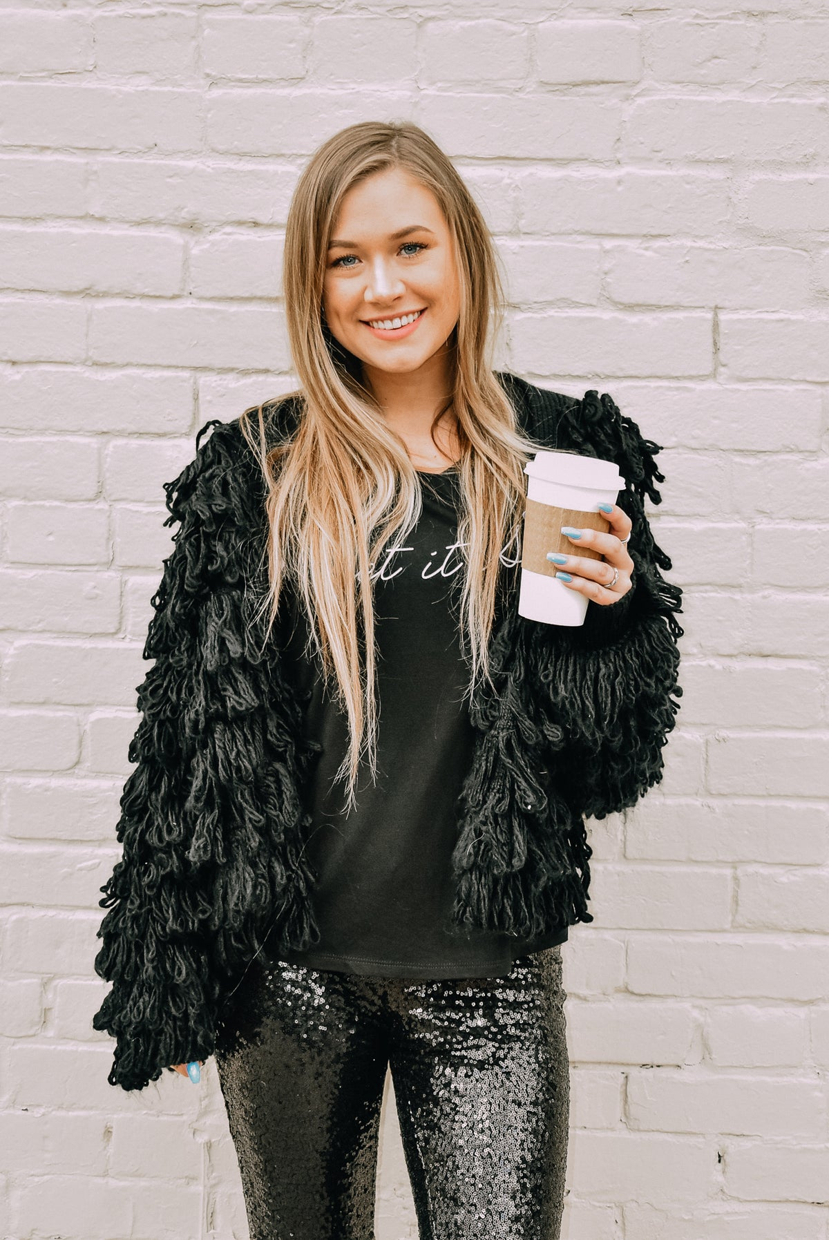BLACK SHAGGY JACKET