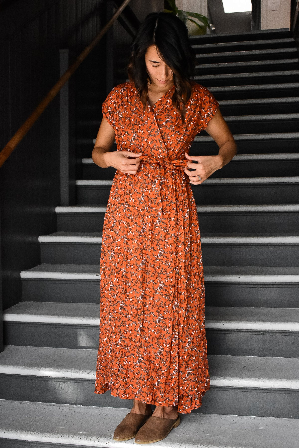 FLORAL MAXI WRAP DRESS - RED ORANGE