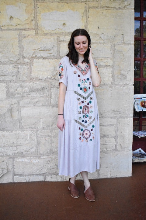 EMBROIDERED MIDI DRESS IN LILAC - MED/LARGE *FINAL SALE