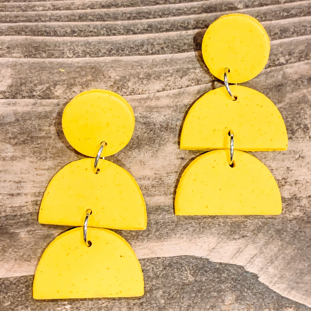 TRIPLE TIERED YELLOW SPECKLE CLAY EARRINGS