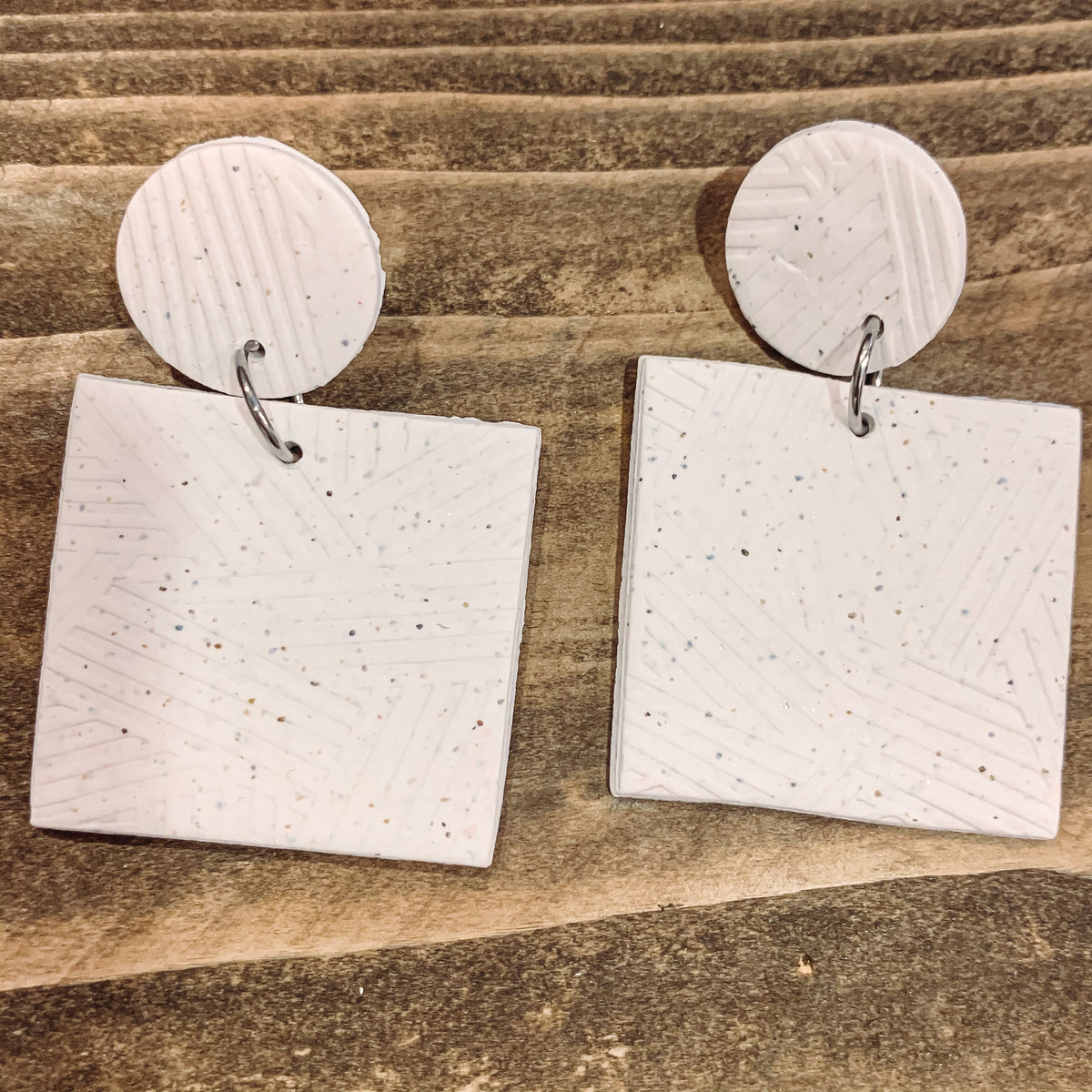 WHITE SPECKLE SQUARE CLAY EARRINGS