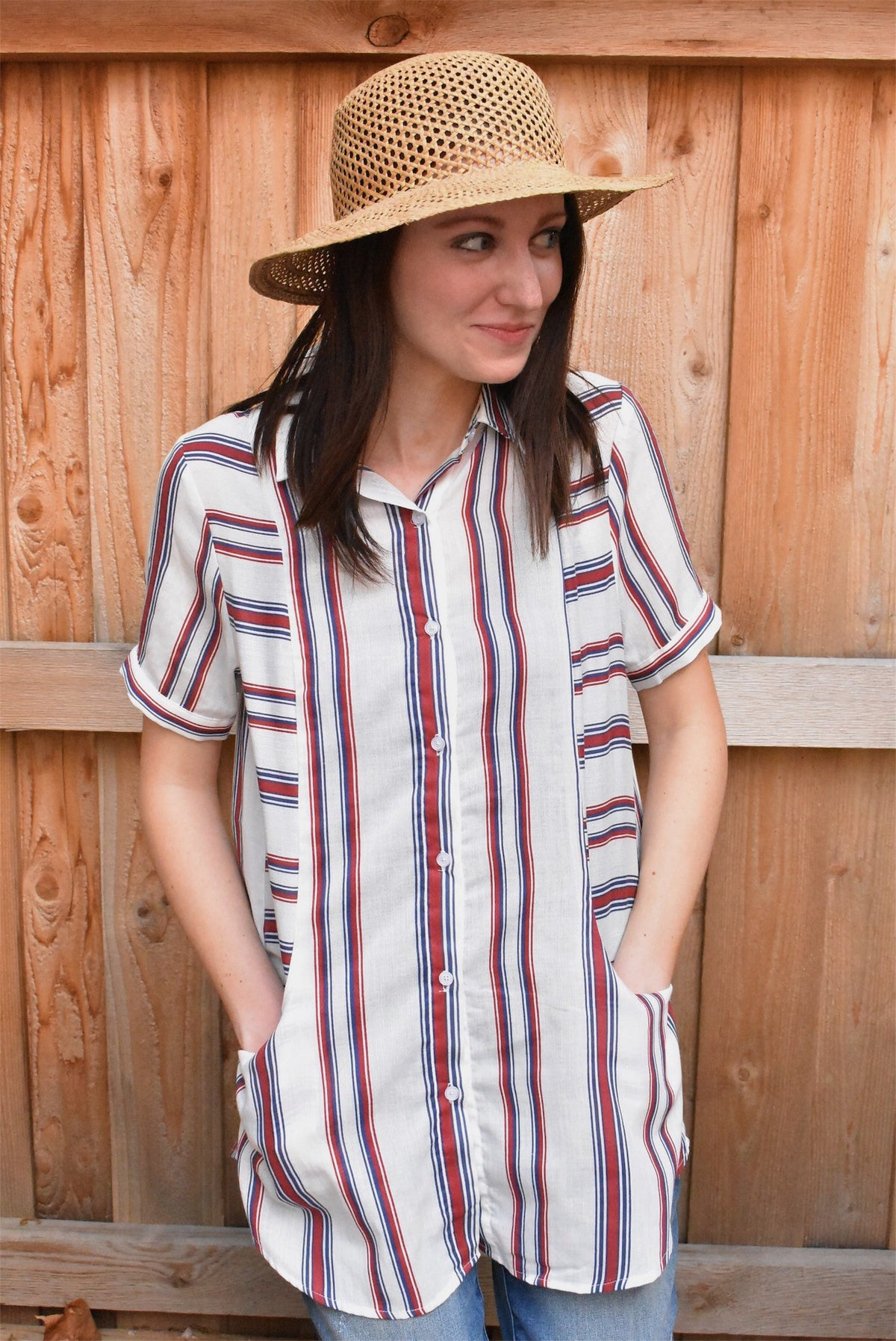 RED BLUE STRIPE BUTTON-UP *FINAL SALE
