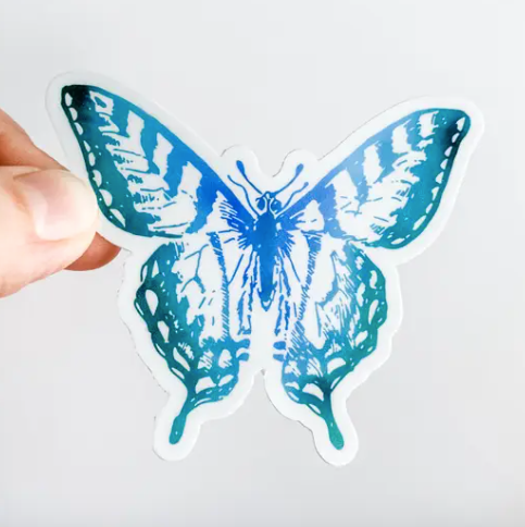 BLUE TEAL BUTTERFLY STICKER