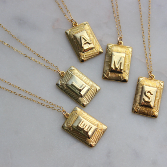 PLATED INITIAL NECKLACE-GOLD