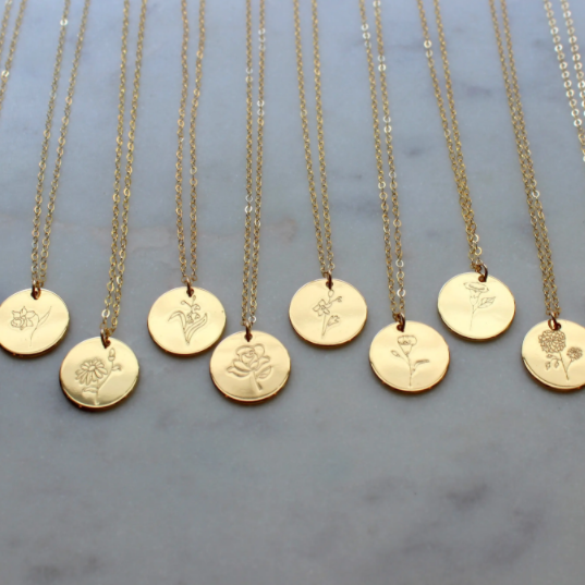 FLORAL BIRTH MONTH NECKLACE-GOLD