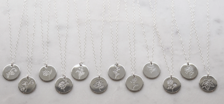 FLORAL BIRTH MONTH NECKLACE-SILVER
