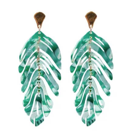PALM TREE LEAF EARRINGS