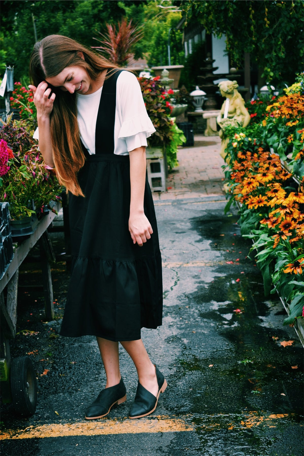 TIERED OVERALL DRESS - BLACK