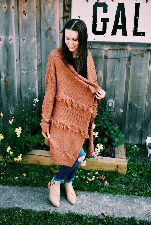 FRINGE SWEATER - APRICOT - MED/LARGE