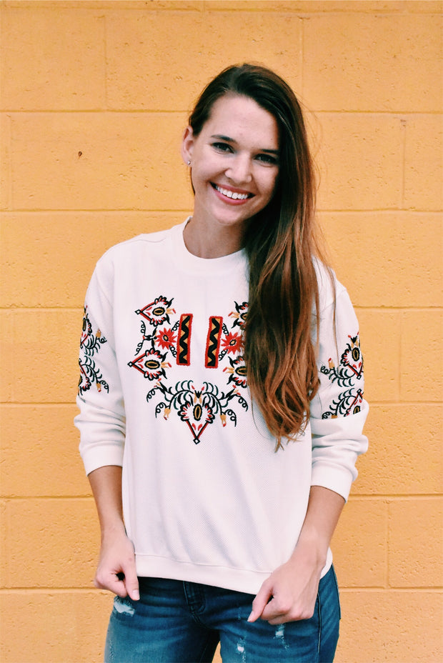 EMBROIDERED SWEATSHIRT - SMALL *FINAL SALE