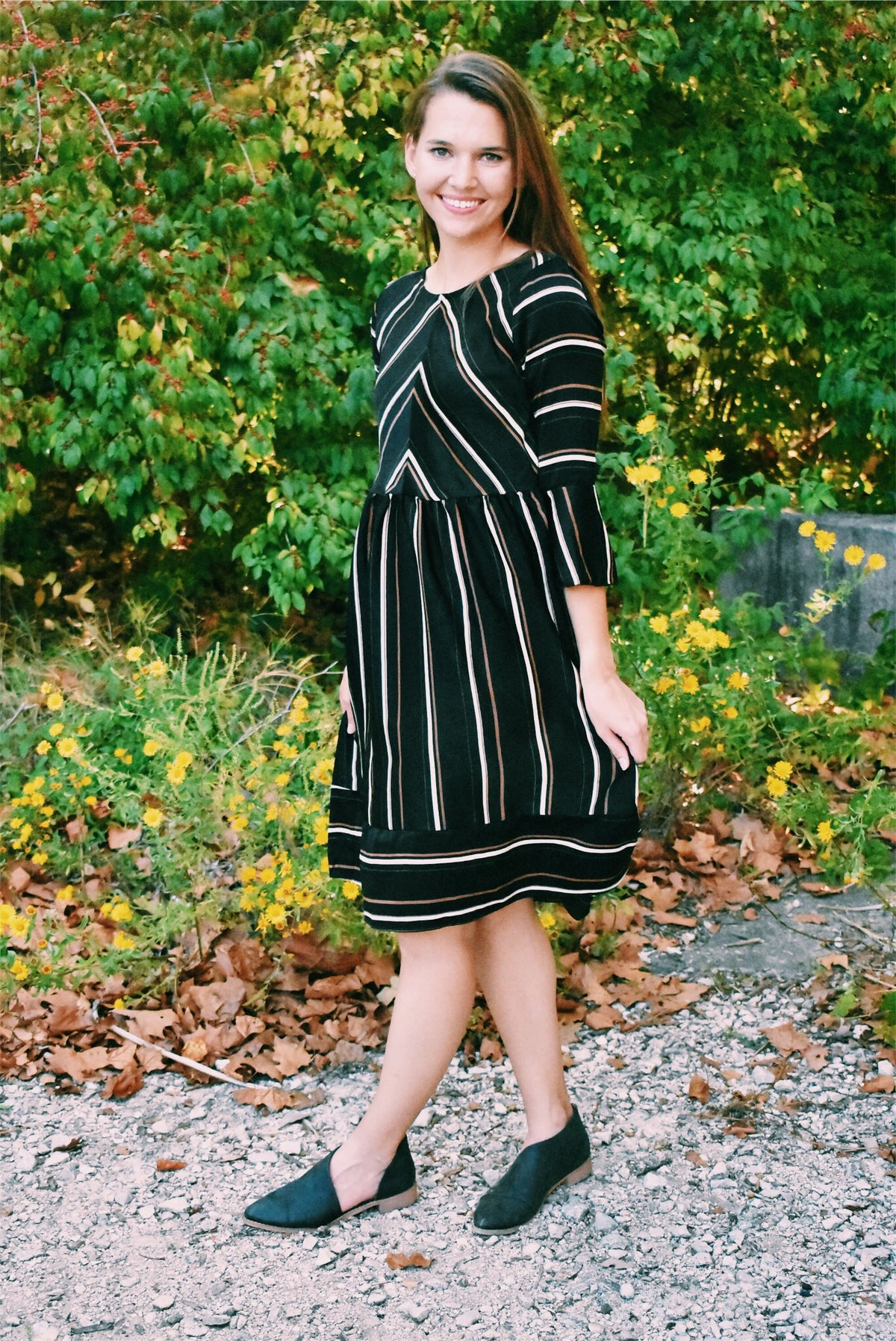 STRIPED DRESS - BLACK & BROWN *FINAL SALE