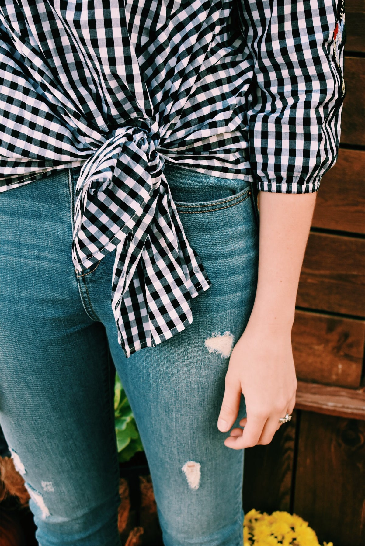 GINGHAM TIE FRONT TOP - LARGE *FINAL SALE