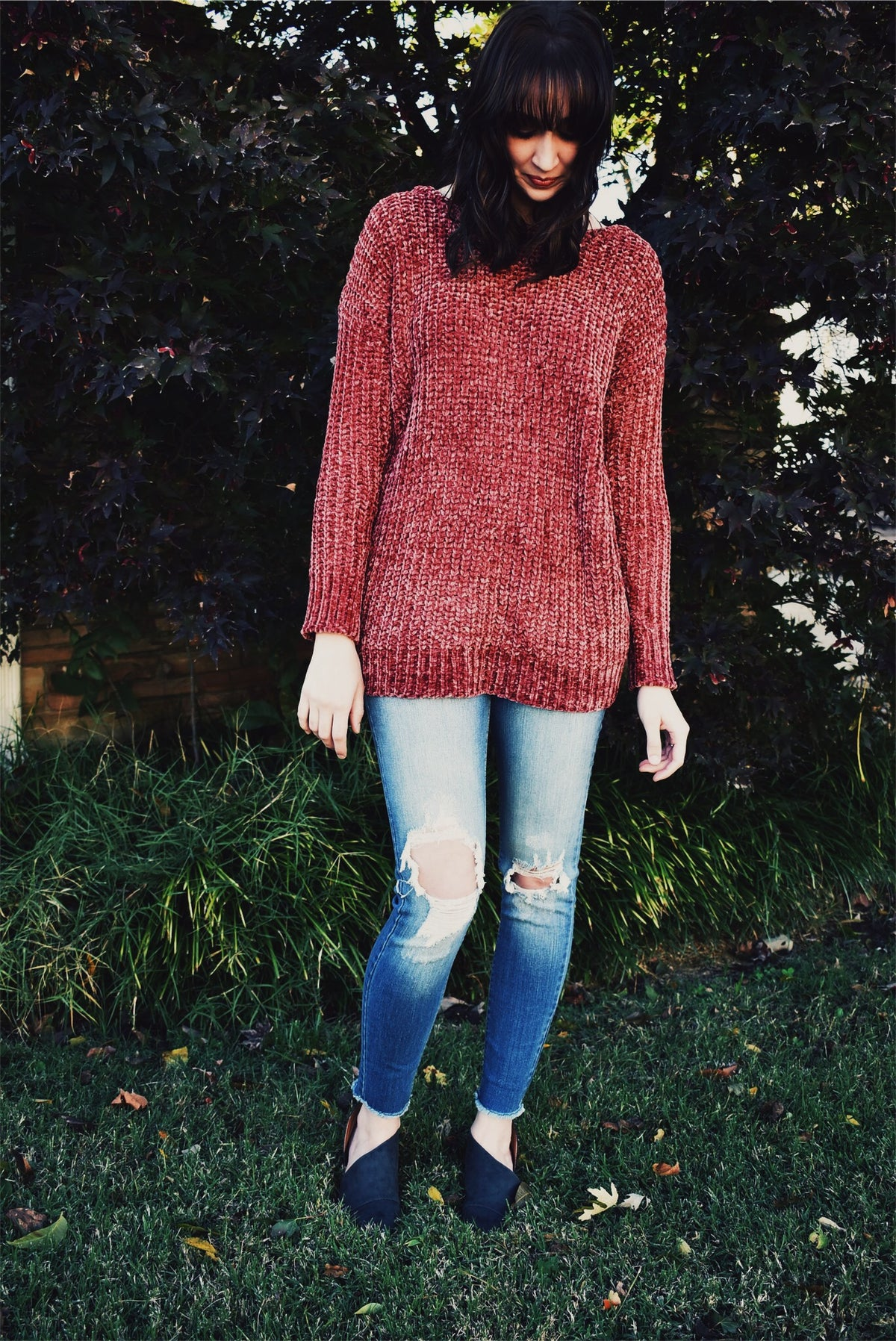 CHUNKY KNIT SWEATER - RUST *FINAL SALE