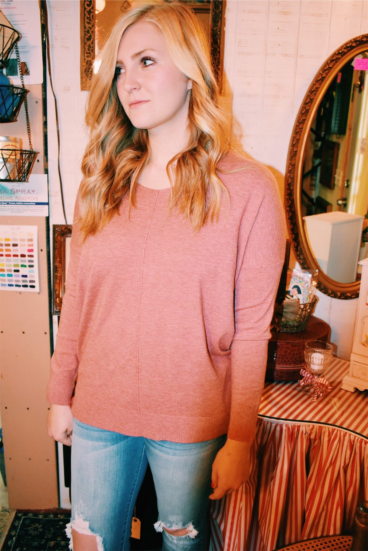 BASIC SWEATER - CORAL