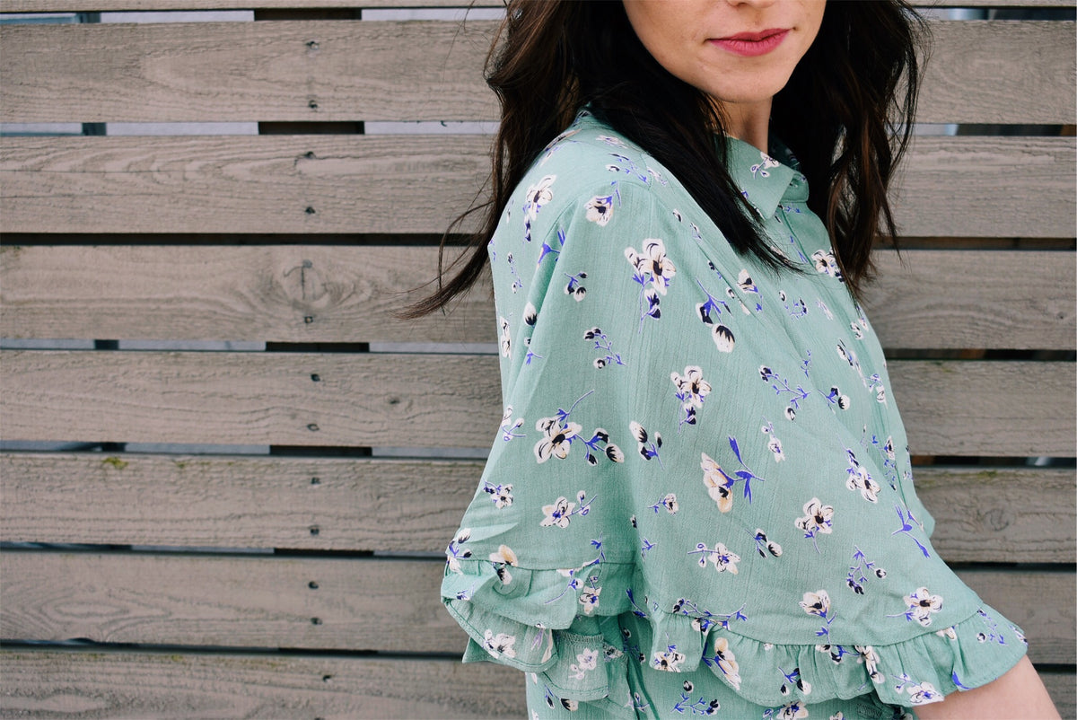 FRILLY FLORAL BUTTON-UP - SAGE