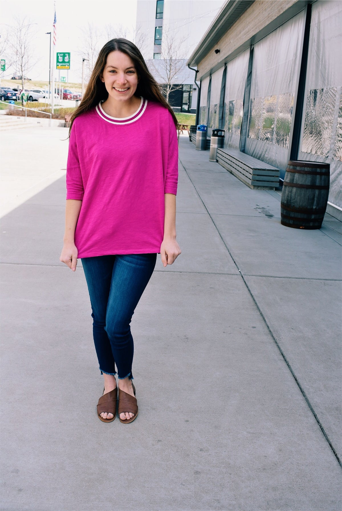 MAGENTA 3/4 SLEEVE TOP