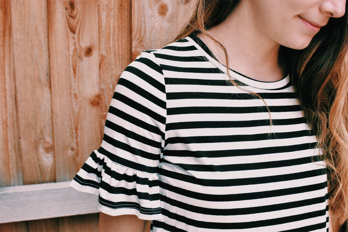 BLACK + WHITE STRIPE RUFFLE SLEEVE TEE *FINAL SALE