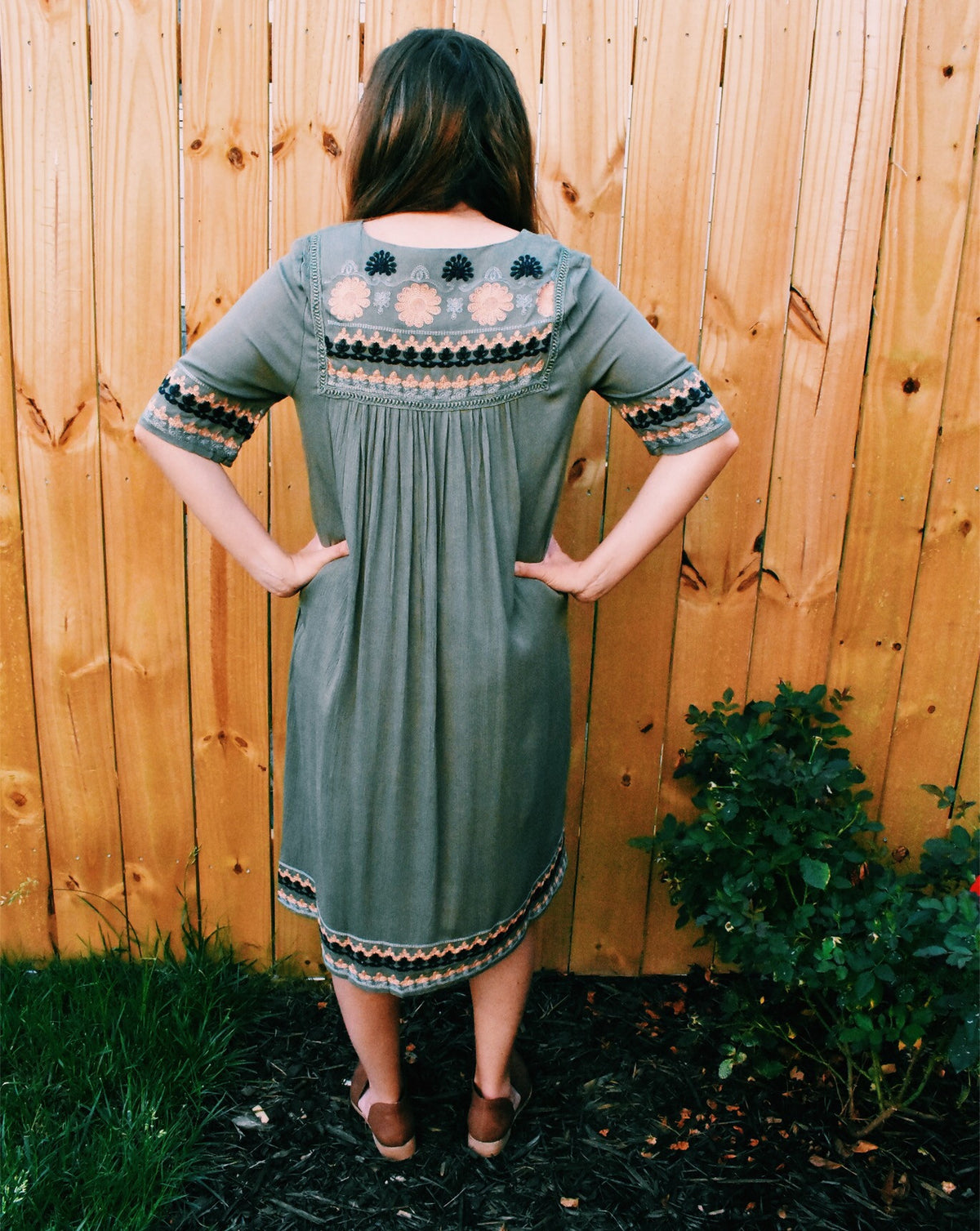 OLIVE EMBROIDERED MIDI *FINAL SALE
