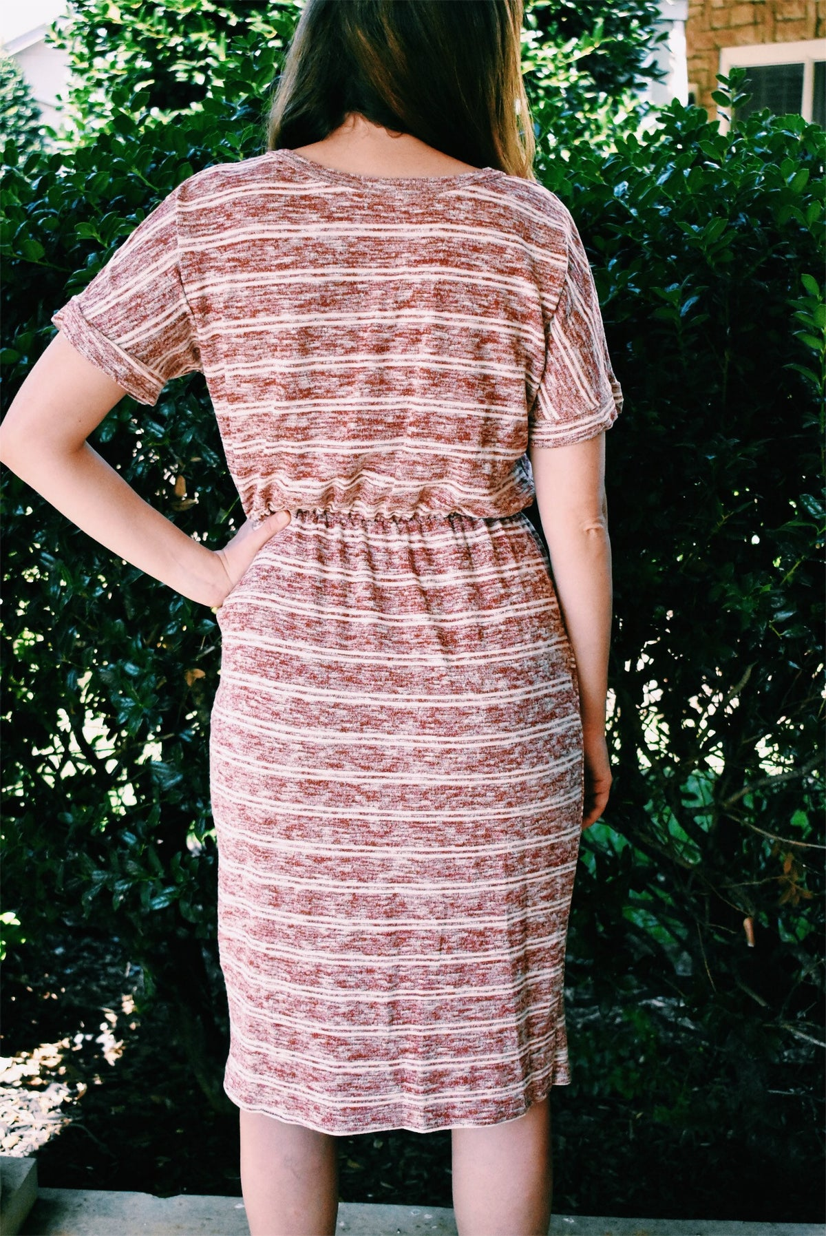 RUST STRIPED DRESS *FINAL SALE