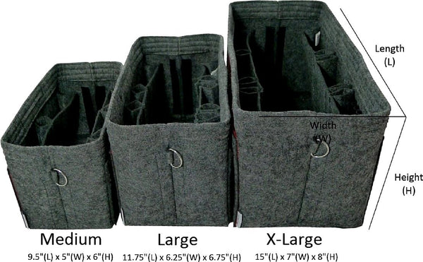 BELIANTO Handbag/Tote Organizer - Classic Herringbone - Dark Grey - Medium