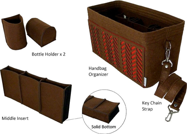 BELIANTO Handbag/Tote Organizer - Classic Herringbone - Dark Brown - Medium