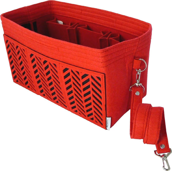 BELIANTO Handbag/Tote Organizer - Classic Herringbone - Red - Medium