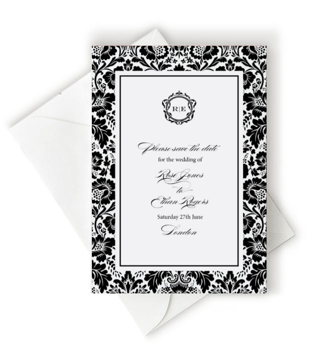 Floral Damask Save the Date