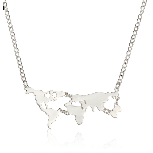 Vintage world map necklace chic air latest cabin fashion vintage world map necklace gumiabroncs Images