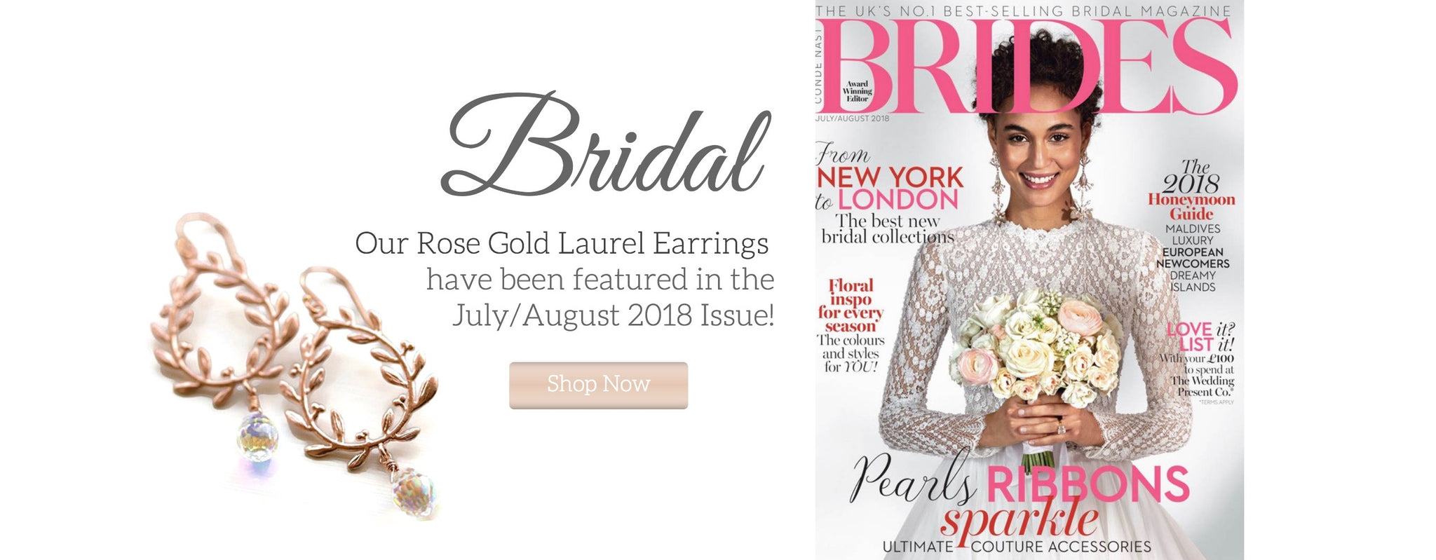 Brides Magazine Feature of Rose Gold Laurel Leaf Earrings