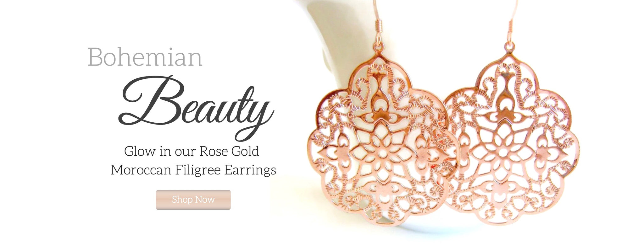 Rose Gold Filigree Earrings Image